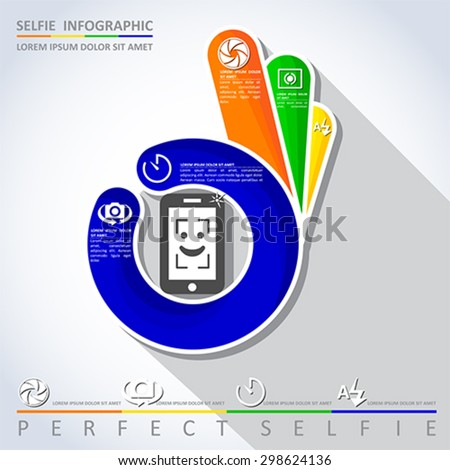 Perfect selfie. Camera infographic, vector - stock vector