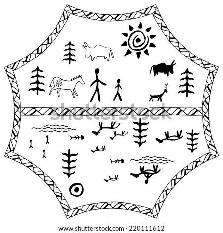 Perfect set of cave paintings. Ethnic  pattern. Vector - stock vector