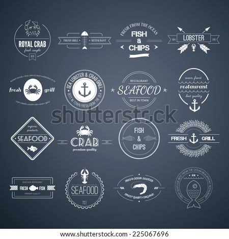 Perfect set of seafood logos. Grill, crab, lobster, restaurant logo collection made in vector. Seafood badges, labels and design elements. - stock vector