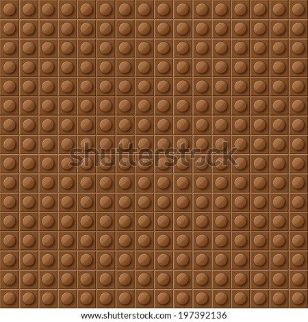 Perfect vector background of closeup gloss plastic construction block. Brown