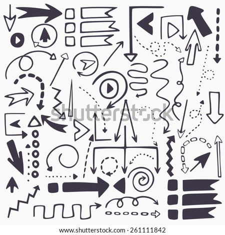 Perfect vector hand drawn arrows. Beautiful fully editable elements for your design. - stock vector