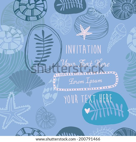 Perfect vector seamless pattern with white seashells. invitation card - stock vector
