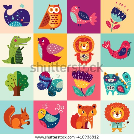 Perfect vector set of illustration in cartoon naive style with funny animals and birds. Lovely cute animals: lion, fox, owl, bird, crocodile, squirrel, whale and cat. - stock vector