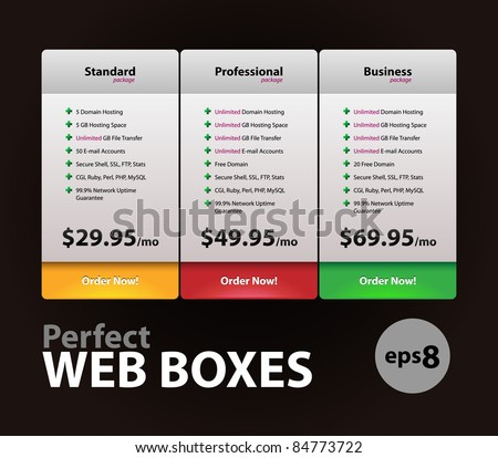 Perfect Web Boxes Hosting Plans For Your Website Design: Banner, Order, Button, Box, List, Bullet - stock vector