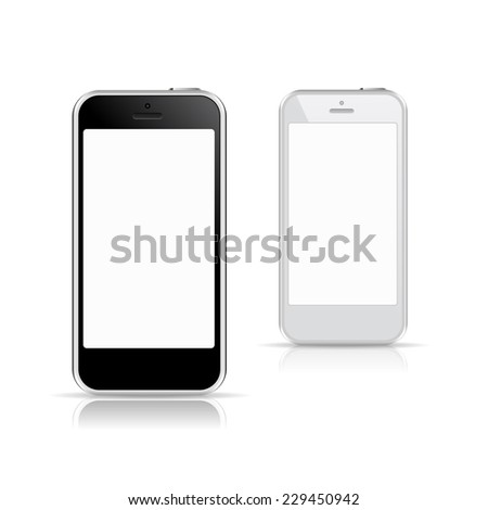 Perfectly detailed modern black and white smart phone mockups with blank screen isolated on white background. Vector illustration. for printing and web element, Game and application mockup. - stock vector