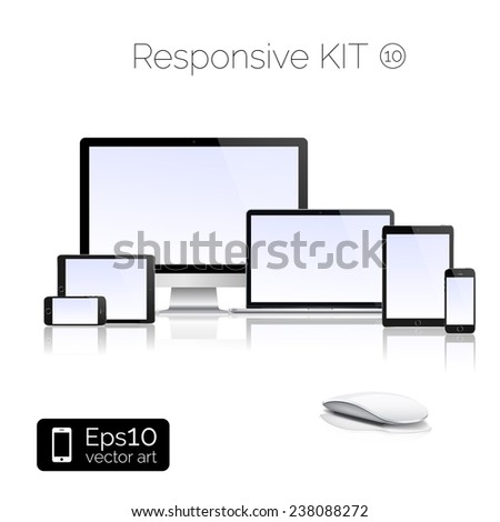 Perfectly detailed modern laptop and glossy tablet and smartphone and isolation of computer with mouse. EPS 10 illustration - stock vector