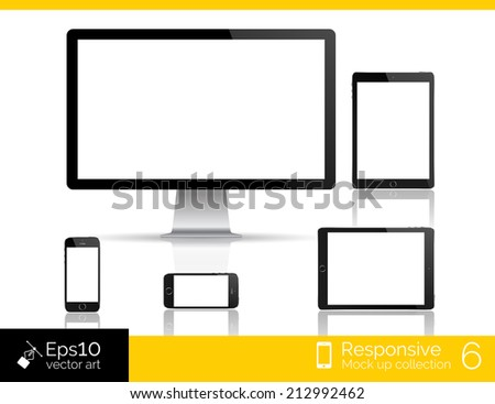 Perfectly detailed modern monitor and glossy tablet and smartphone isolation with computer mouse. EPS 10 illustration - stock vector