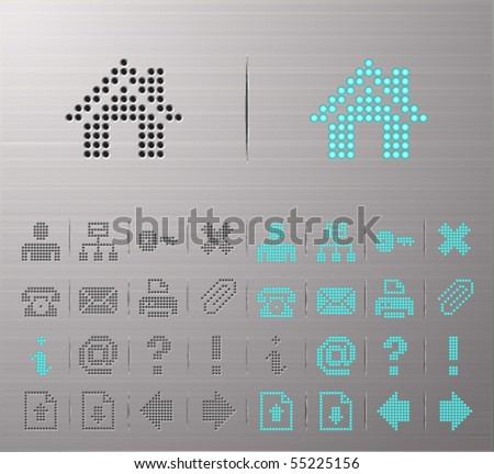 Perforated Internet and Interface buttons - stock vector