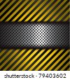 Perforated metal strip with yellow and black striped background - stock vector