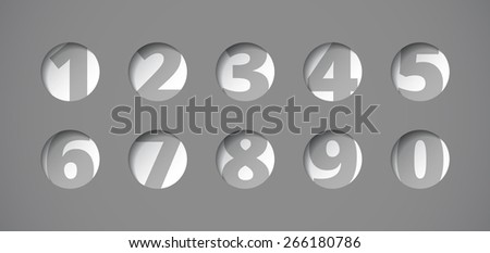 Perforated plate with numbers, board with circular holes, vector labels