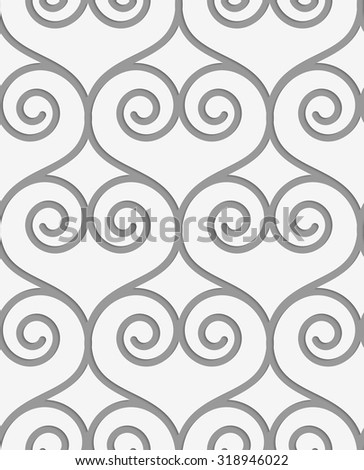 Perforated swirly hearts.Seamless geometric background. Modern monochrome 3D texture. Pattern with realistic shadow and cut out of paper effect. - stock vector