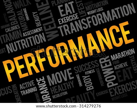 PERFORMANCE word cloud, fitness, sport, health concept - stock vector