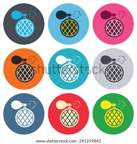 Perfume bottle sign icon. Glamour fragrance symbol. Colored round buttons. Flat design circle icons set. Vector - stock vector