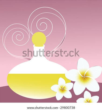 perfume bottle with flower - stock vector