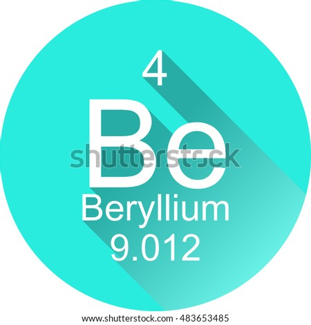 Periodic table elements beryllium round flat stock vector hd periodic table of elements beryllium round flat icon with long shadow urtaz