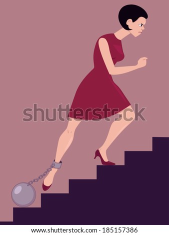 Perseverance. Determined woman climbing the stairs with a cannon ball chained to her leg - stock vector