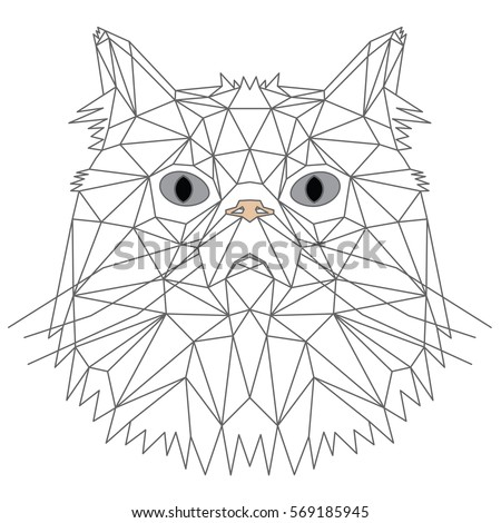 Persian Cat Abstract Geometric Illustration Isolated On White Background Polygonal Origami Design Vector