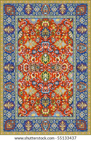Persian detailed vector carpet - stock vector