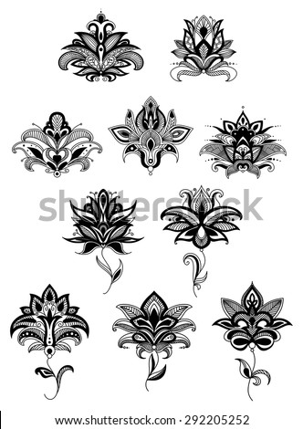 Persian floral design elements with intricate ornamental black paisley flowers for interior accessories or embellishment design - stock vector