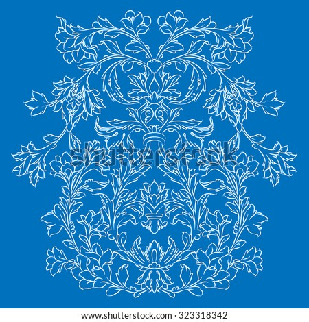 Persian floral ornament, white on blue - stock vector