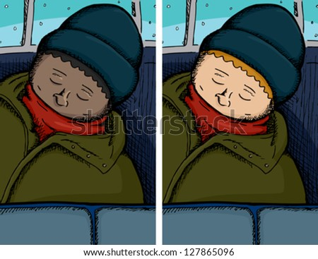 Person asleep on bus in dark and light skinned versions - stock vector