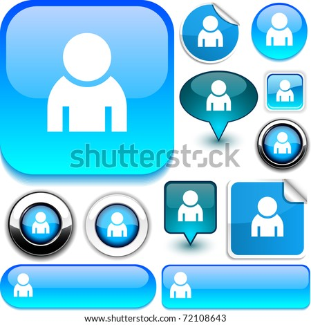 Person blue signs. - stock vector