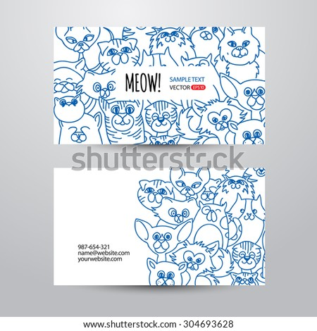 Person card template funny cats face stock vector 304693628 person card template with funny cats face background vector background hand drawn design elements accmission Choice Image
