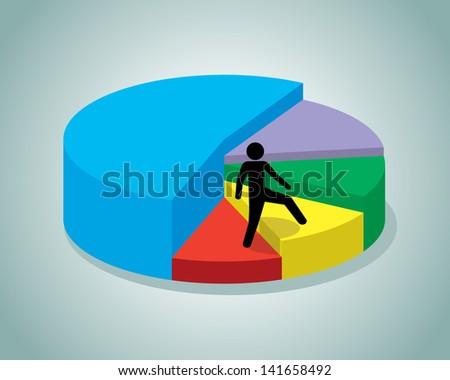 person climbing 3d pie chart - stock vector