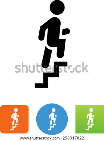 Person climbing up a stairway. Vector icons for video, mobile apps, Web sites and print projects.  - stock vector