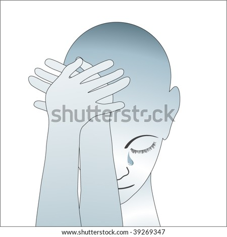 person crying head in hands (stylized) tear on face - stock vector