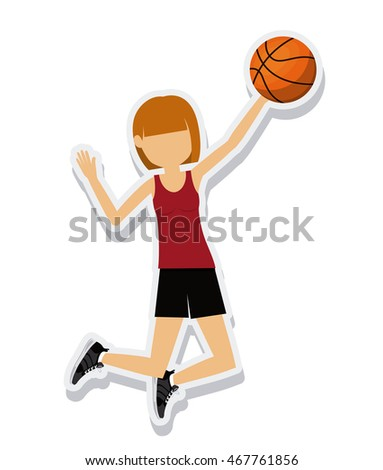 person figure athlete basketball sport icon vector illustration design