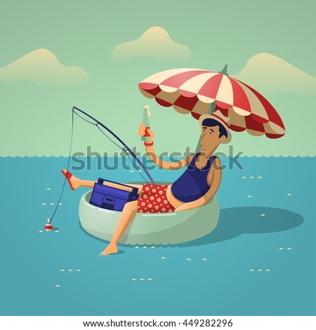 person fishing on the sea, vector illustration - stock vector