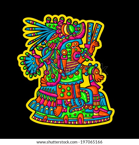 Person. Flyuro image of the Maya. Maya designs. Maya design elements.  - stock vector