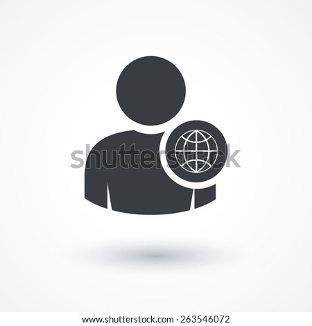 Person globe network concept icon. - stock vector