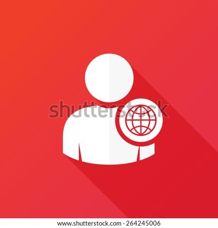 Person globe network concept icon - stock vector
