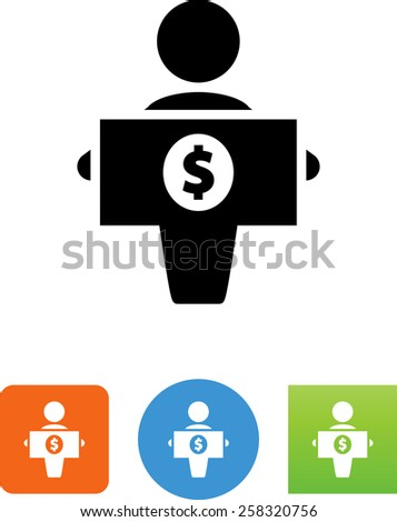 Person holding a dollar bill symbol for download. Vector icons for video, mobile apps, Web sites and print projects.  - stock vector