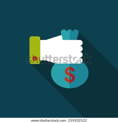 person holding money flat icon with long shadow,eps10