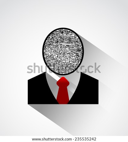 Person identity with fingerprint.Person silhouette with fingerprint head and long shadow.Protect individual identity icon concept - stock vector