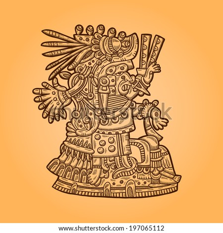 Person. Illustration of the Maya object. Maya design elements.  - stock vector