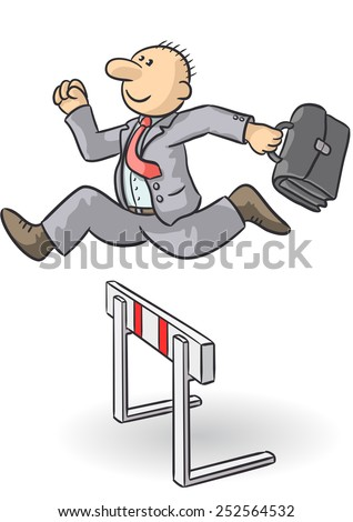 person jumps an obstacle - stock vector