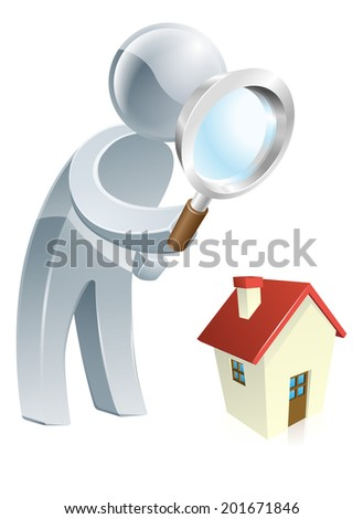 Person looking at a a house with a magnifying glass, could be searching for a house to buy or doing a home survey - stock vector