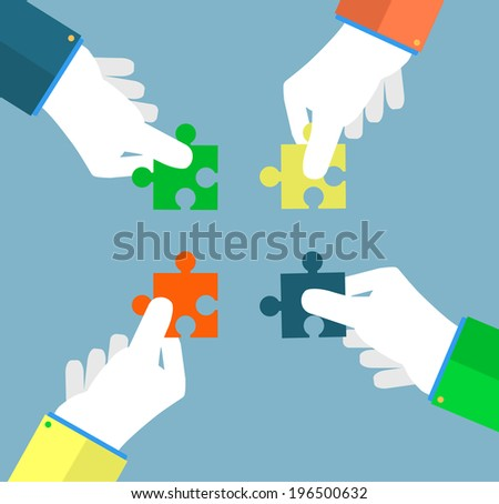 Person making a puzzle. A hand puts proper puzzle. Businessman assembling jigsaw puzzle. Business concept - stock vector
