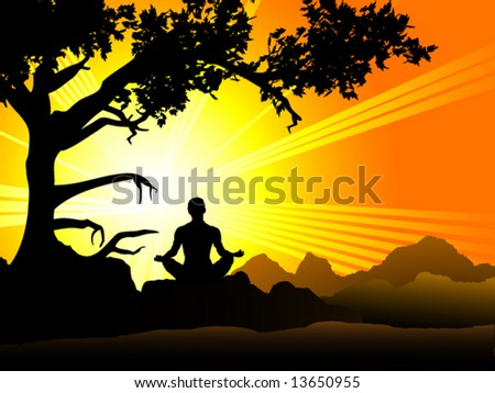 Person meditating in front of a beautiful sunset. - stock vector