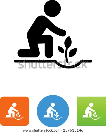 Person planting a plant symbol for download. Vector icons for video, mobile apps, Web sites and print projects.  - stock vector