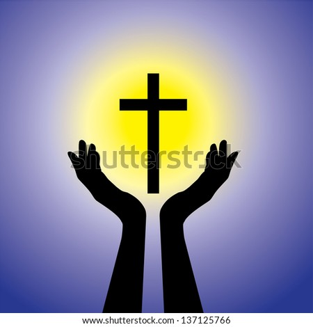 Person praying or worshiping to crucifix or Jesus - concept of a devout faithful christian worshiping holy cross(Christ) with blue background and yellow sun - stock vector