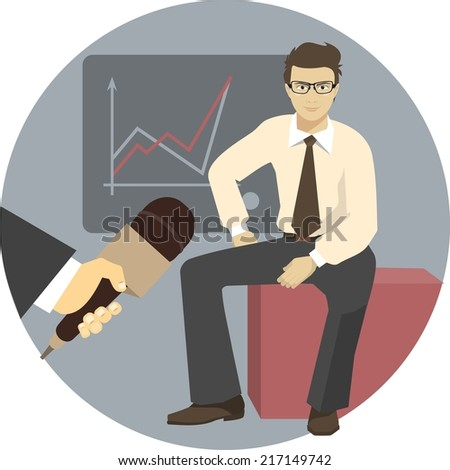 Person providing interviews to several reporters in a flat style - stock vector