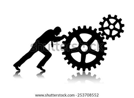 person rotates gear wheels - stock vector