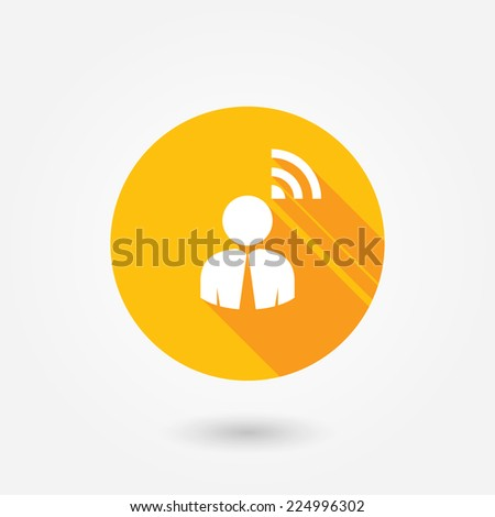 Person RSS sign isolated flat design style with long shadow - stock vector