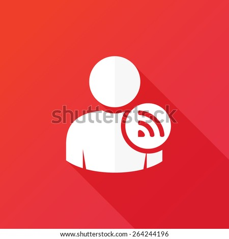 Person RSS sign | Wi-Fi isolated button icon. Flat style design icon - stock vector
