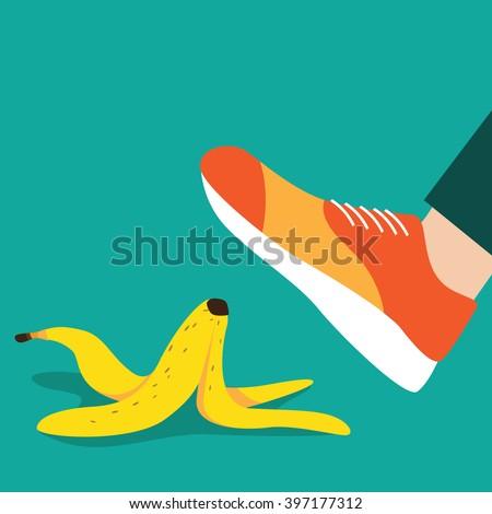 Person slipping on a banana peel flat design. EPS 10 vector. - stock vector